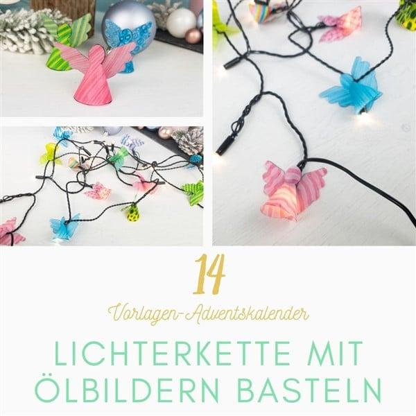Bastelvorlagen-Adventskalender Türchen 14: Weihnachtsdekoration basteln – Lichterkette mit Ölbildern basteln
