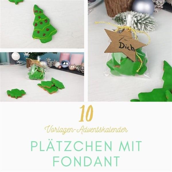 Bastelvorlagen-Adventskalender Türchen 10: Weihnachtsplätzchen mit Fondant verzieren mit Vorlage für Geschenkanhänger