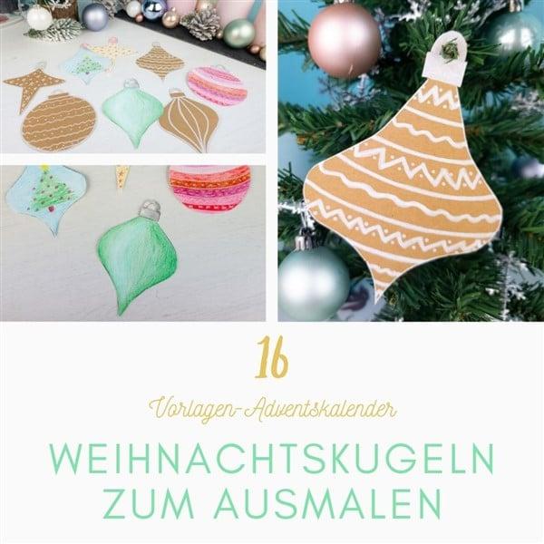Bastelvorlagen-Adventskalender Türchen 16: Baumschmuck basteln: Weihnachtskugeln zum ausmalen