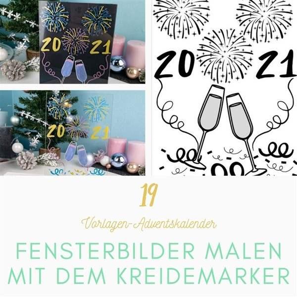 Bastelvorlagen-Adventskalender Türchen 19: Malvorlage fürs Fenster mit Silvestermotiv