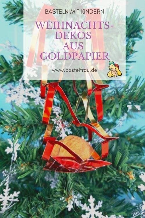 Weihnachtsdeko aus Goldpapier basteln