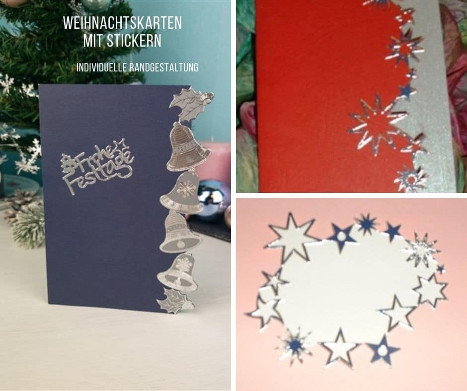 Last Minute Weihnachtskarte mit Konturenstickern gestalten