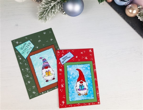Weihnachtskarte mit Wichteln