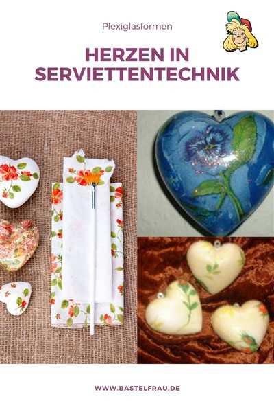 Herzen in Serviettentechnik - Kunststoffformen bekleben
