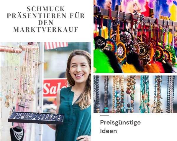 Schmuck für den Verkauf auf Kunsthandwerkermärkten und Weihnachtsmärkten präsentieren
